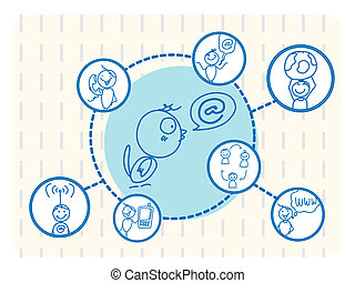 social, pássaro, rede