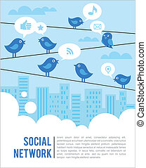 social, pássaros, rede, fundo, ícones