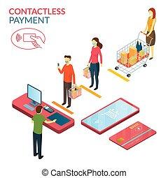 social, paiement, distancing, gens, normal, contactless, ...