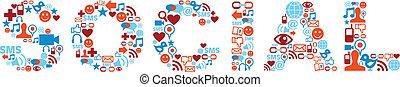 social, palabra, con, medios, iconos, textura