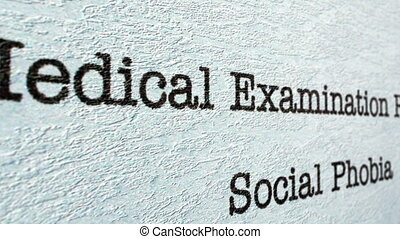 Social phobia medical report