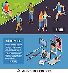 Social Photo Selfie Isometric Banners