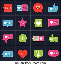 Social pictogram Counter Notification Icons collection