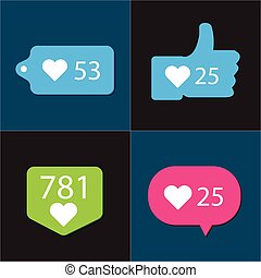 social, pictograma, contador, notificação, ícones, cobrança