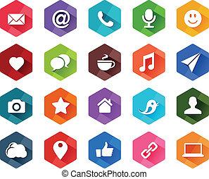social, plano, medios, iconos