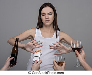 Social - Portrait of a young woman who refuses to alcohol...