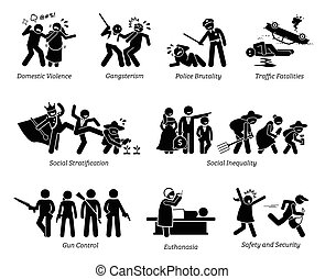 Social Problems and Critical Issues Stick Figure Pictogram Icons.