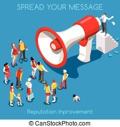 Social Promotion Concept Isometric - Social Web Promotion...