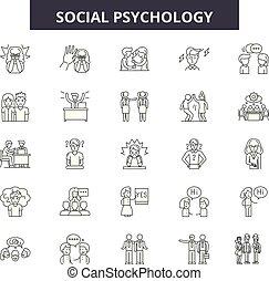 Social psychology line icons, signs, vector set, linear concept, outline illustration