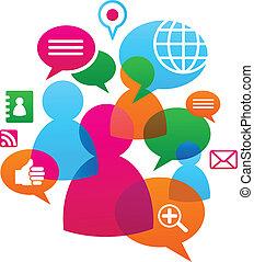 social, réseau, backgound, à, média, icônes