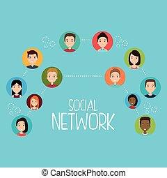 social, réseau, communauté, gens