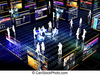 social, réseau, communauté, ligne