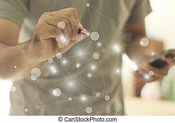 social, réseau, concept.