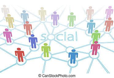 social, réseau, couleur, gens, média, connexions