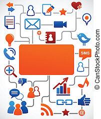 social, réseau, fond, à, média, icônes