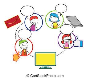 social, réseau, gens