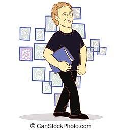 social, réseau informatique, communication, homme, réseaux, global