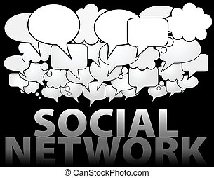 social, réseau, média, bulle discours, nuage
