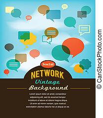 social, réseau, média, et, communication, dans, vendange, style