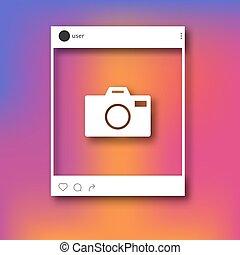 social, réseau, porte-photo, poste, mockup