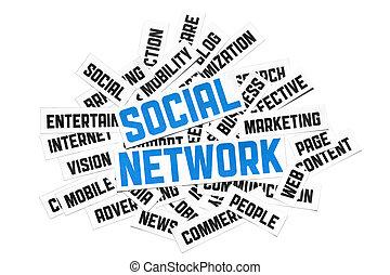 social, réseau, signe