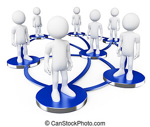social, réseaux, gens., 3d, blanc