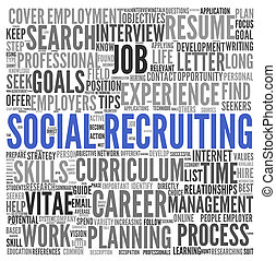 Social recruiting concept in word tag cloud on white background