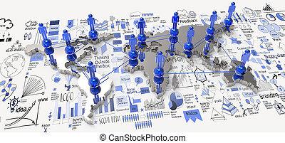 social, red, 3d, en, mapa del mundo, y, mano, dibujado, estrategia de la corporación mercantil, como, concepto