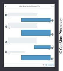 social, red, burbujas, mensajería