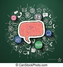 social, red, collage, con, iconos, en, pizarra