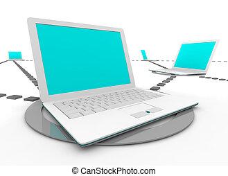 social, red, computadoras portátiles