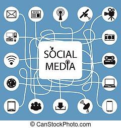 social, red, comunicación, en, th