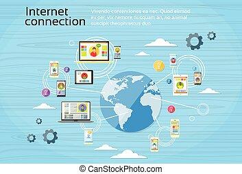 social, red, conexión, concepto, internet, dispositivo, comunicación
