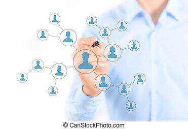 social, red, conexión, concepto