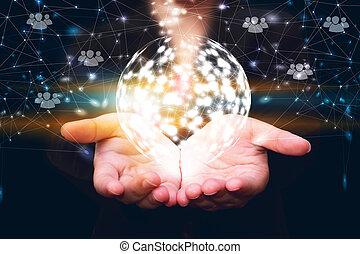 social, red, globalización, empresa / negocio, establecimiento de una red, concept.