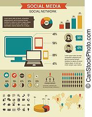 social, red, infographics, conjunto, estilo retro, diseño