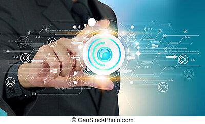 social, red, y, tecnología digital, concepto