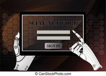 social, rede computador, tabuleta, mãos