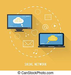 social, rede, conceito, em, apartamento, desenho