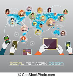 social, rede, concept.
