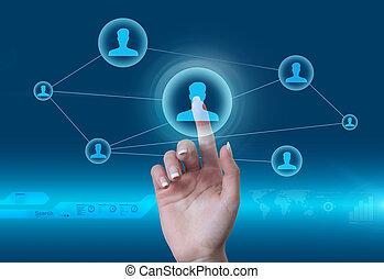 social, rede, concept., tocar, a, homem, ícone, em, futuro, estilo, virtual, interface.