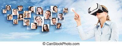 social, rede, e, global, contato, concept., mulher, desgastar, realidade virtual, óculos proteção, headset., vr, glasses., 360, degrees.