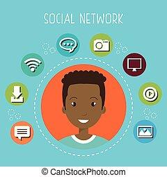 social, rede, homem, ícones