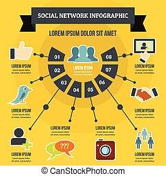 social, rede, infographic, conceito, apartamento, estilo