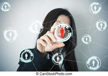 social, rede, ligado, futurista, tela
