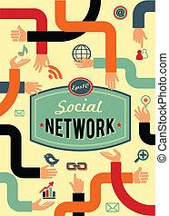 social, rede, mídia, e, comunicação, em, vindima, estilo