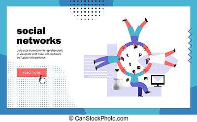 social, rede, página, aterragem, site web