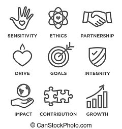 Social Responsibility Outline Icon Set - drive, growth,...