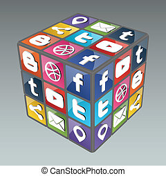 Social Rubik Cube 3.0 - Famous cube made from social icons. ...