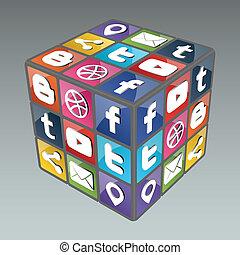 Social Rubik Cube 3.0 - Famous cube made from social...